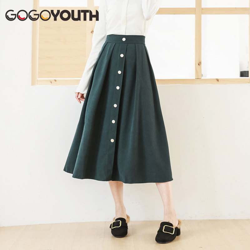 Gogoyouth Long Summer Skirt Women 2019 New Cotton Korean Elegant High Waist Skirt Female Fashion Midi A-line Sun Shcool Skirt