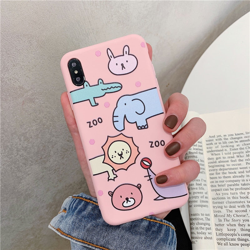 Cute Cartoon Animal Phone Case For iphone XS Max XR X 8 7 6S 6 Plus Cases Crocodile Lion Pattern Soft Silicone Cover Matte Capa