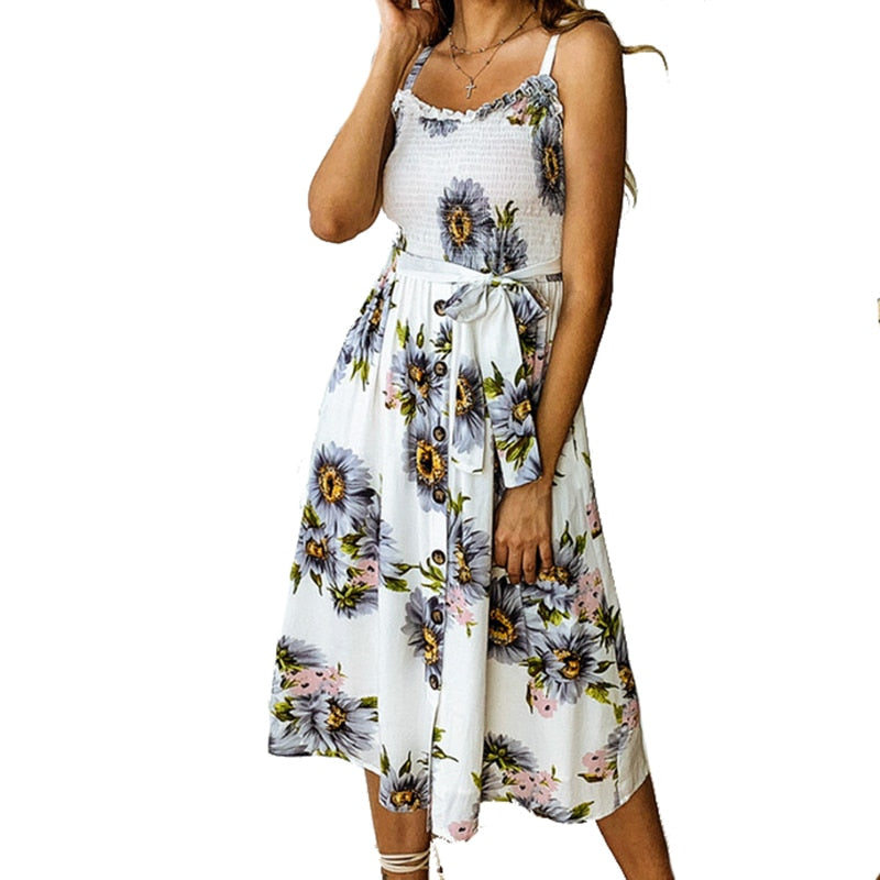 948787a5436f9 Girl 2019 Boho Summer Beach Dress Women Clothes New Fashion Casual Sexy  Backless Floral Print Sunflower Sundress Plus Size M0583