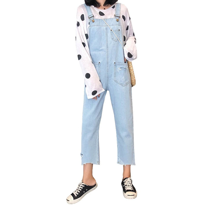 New Women Denim Jeans High Waist Loose Overalls Vinatge Pockets Ankle Length Pants Cotton Harajuku Jeans Female #8096