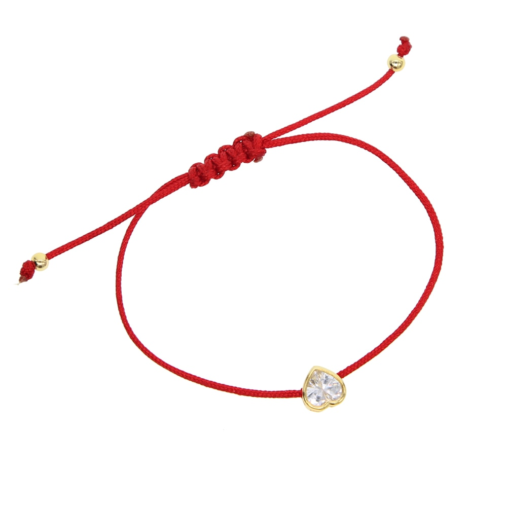 925 sterling silver delicate adjust girl women simple jewelry AAA sparking cz heart bead red black rope string diy bracelet 2019