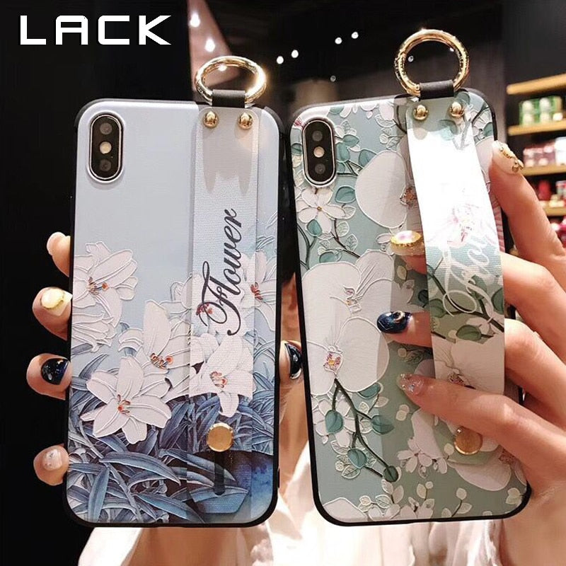 LACK Flowers Phone Case For iphone XS Max X XR 8 7 6 6S Plus Cover Wrist Strap Hand Band Cases Soft TPU Relief Coque Stand Capa