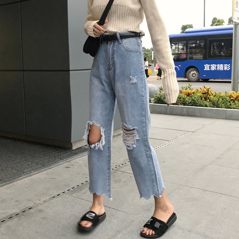 New Jeans For Women Irregular Hole Ripped Loose Cotton Jeans Loose Straight Wide Leg Jeans Female #2330