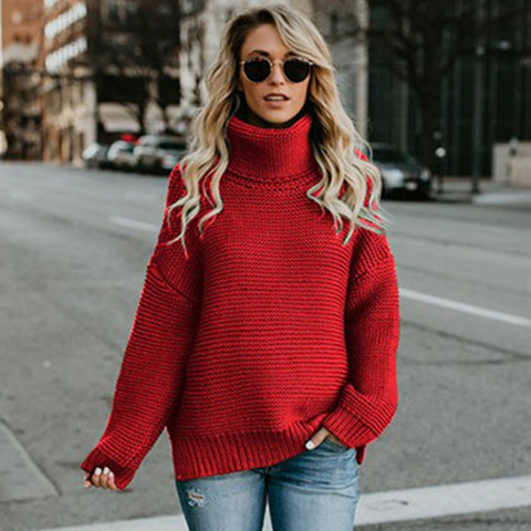 3a1ac19d4c20 ZHYMIHRET 2018 Fall Winter Turtleneck Sweater Women Solid Long Sleeves  Pullovers Casual Loose Tops Sweater Tops