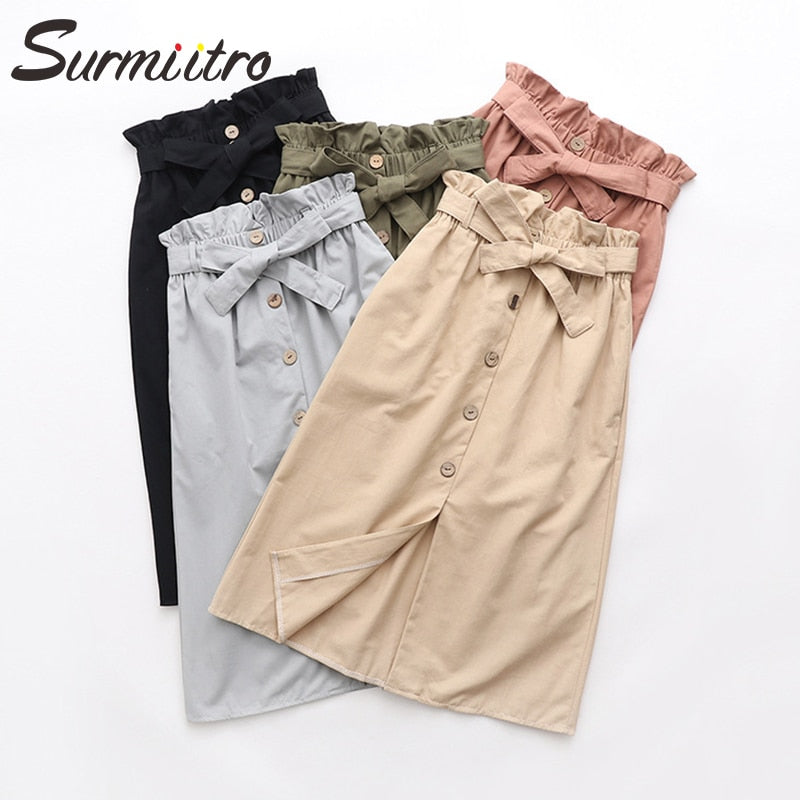 Surmiitro Midi Skirt Women 2019 Spring Summer Knee Length Fashion Korean High Waist A line Bud Skirt Female Casual School Skirt