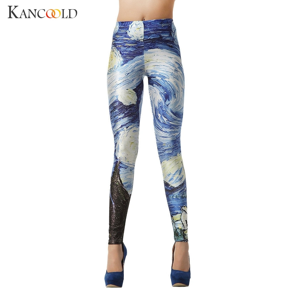 KANCOOLD Leggings printing stretch 3D Blue Galaxy Sexy Leggins Streetwear high Ankle-Length Natural Color Leggings dec6