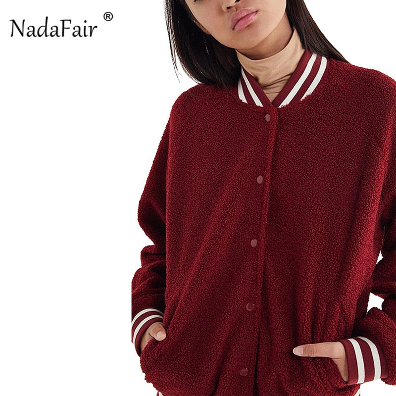 Nadafair striped patchwork faux fur winter jacket coat women baseball uniform single breasted plush casual sweatshirt overcoat