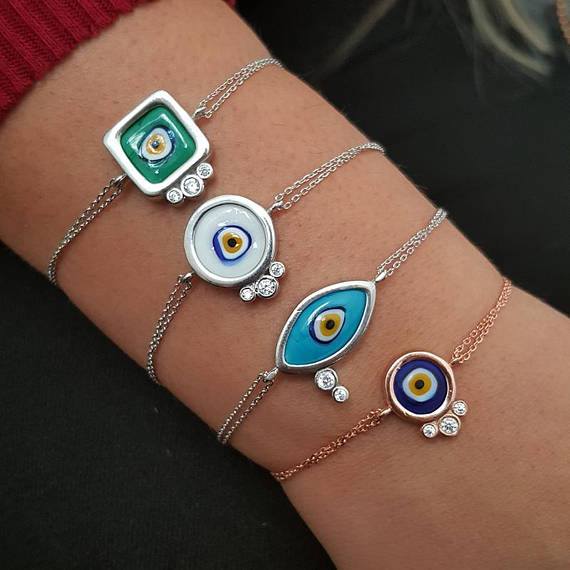 5 designs various color enamel Lucky eye charm elegance lovely girl women gift 2019 new Factory wholesale fashion bracelet