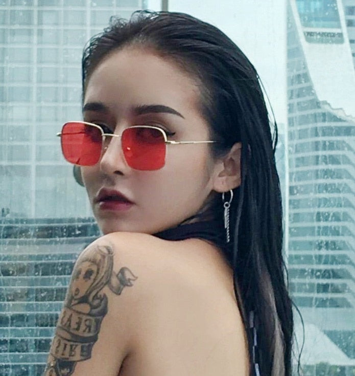 2018 Retro Mirror Square Sunglasses Women Men Luxury Brand Designer Sun Glasses for Women Small Hip Hop Sunglasses