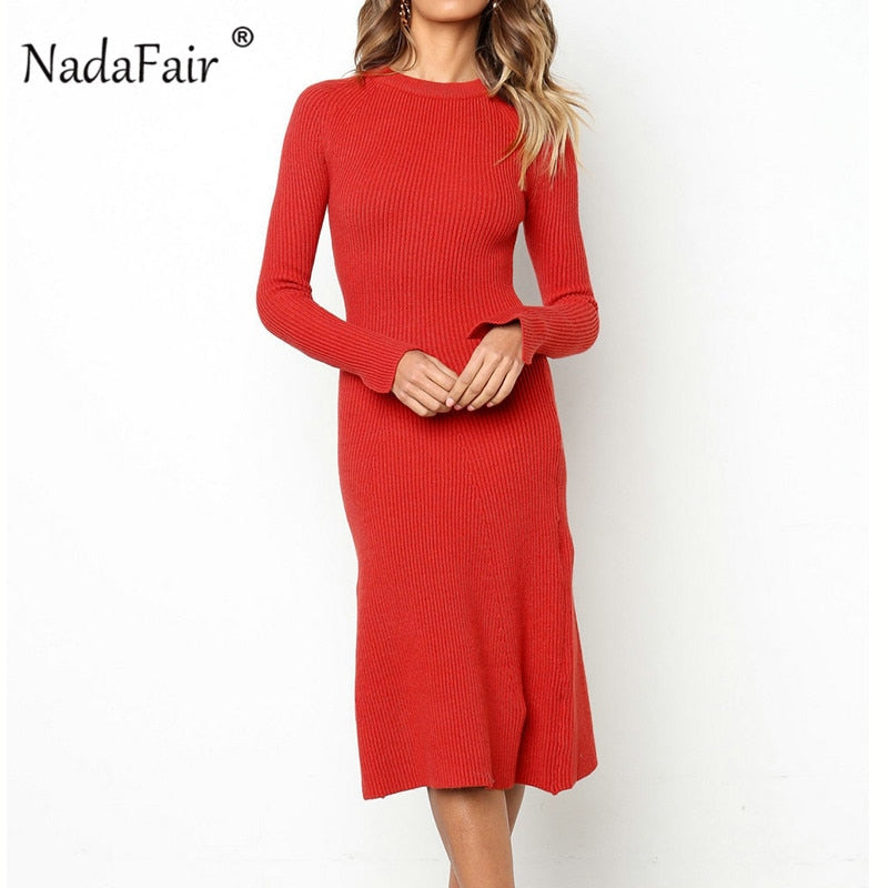 women knitted winter long dress female red black bodycon sexy midi dress autumn o neck long sleeve party dress vestido