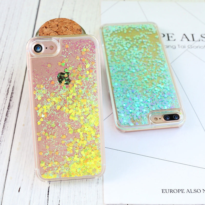 detailed look efd20 76409 liquid glitter Case For iPhone 6 7 8 plus Case For iphone 5S SE 5C Coque  Quicksand pink Hard Plastic Case For iPhone 4S