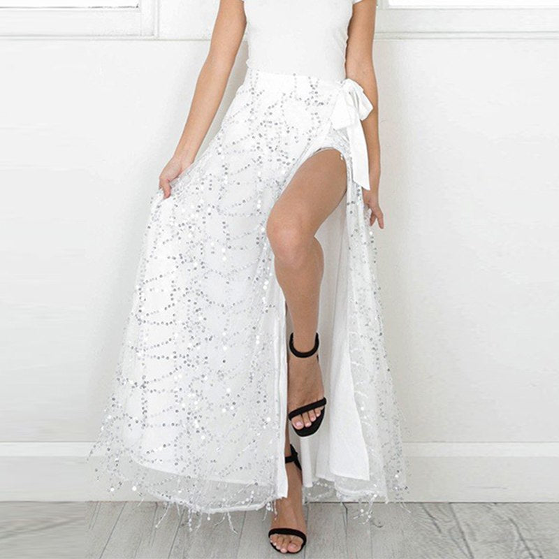 4ff08428d6 Lily Rosie Girl Women 2017 White Sexy Sequined Straight Empire Maxi Skirts  Casual Summer Beach Party Faldas Mujer Long Skirt