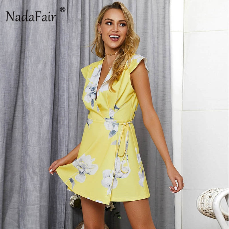 casual print summer dress women short sleeve v neck sexy beach party boho dress sash lace up wrap mini a line dress