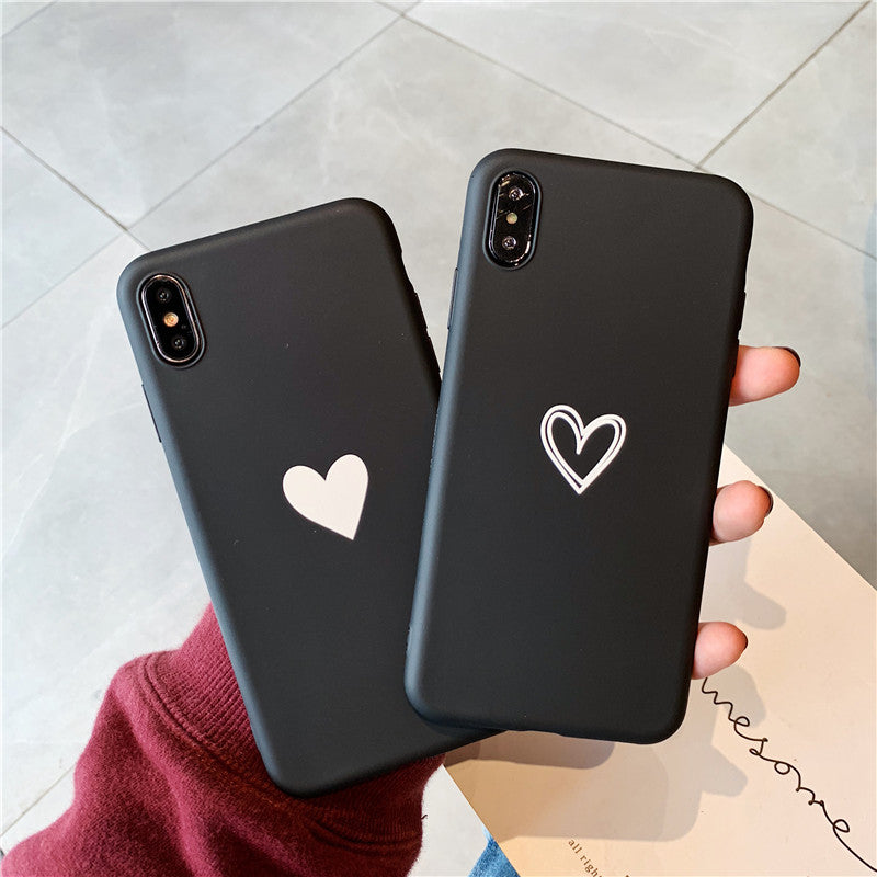Fashion Simple Love Heart Phone Case For iphone X XR XS Max Case For iphone 6 6S 8 7 plus Back Cover Cute Silicone Soft Cases