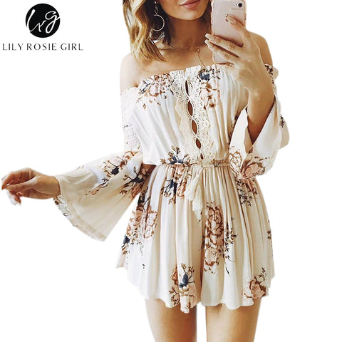 9825f15c2ec Lily Rosie Girl Off Shoulder Boho Floral Print Playsuits Women Sexy Summer  Lace Short Rompers Party Jumpsuits Overalls