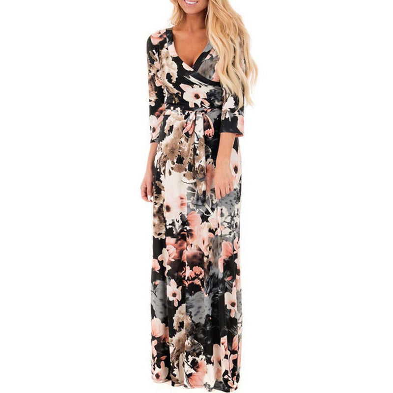672b63b12a5 Women Long Dress Floral Printed Vintage Boho Party Dress V Neck Half Sleeve  Belted Wrap Maxi