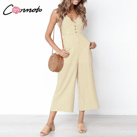 d01455e04c0 Conmoto Casual Beach 2019 Summer Jumpsuits Women Sexy Jumpsuit Rompers  Stripe Wide Leg Clearance Jumpsuit Romper