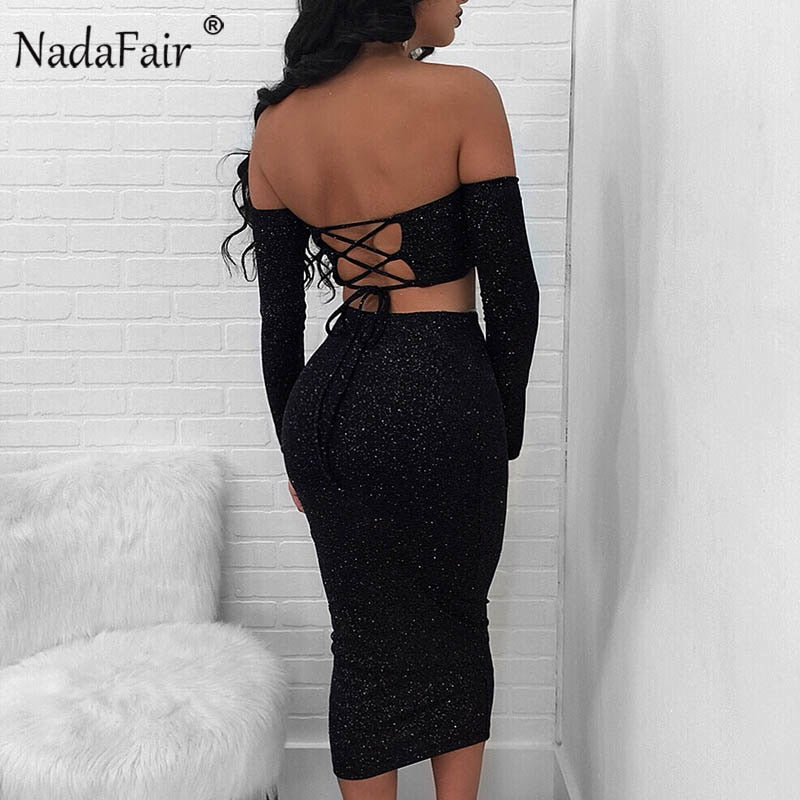 Long Sleeve Backless Lace-up Off Shoulder Shine Sexy Bodycon Wrap Club Party Dresses Plus Size Women Clothing