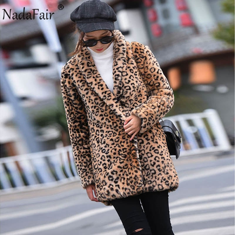 Nadafair winter thick leopard print faux fur coat women warm soft vintage long leopard fur jacket plus size plush overcoat