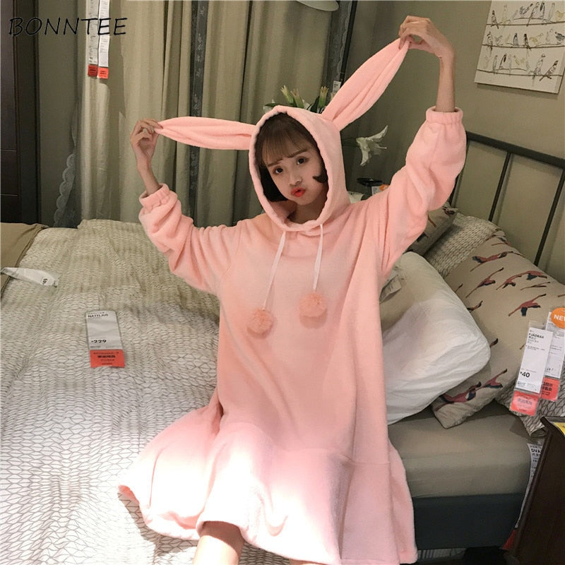 Nightgowns Ruffles Warm Hooded Women Kawaii Flannel Nightdress Lovely Solid Winter Rabbit Ears Sleepwear Long Sleeve Womens Cute