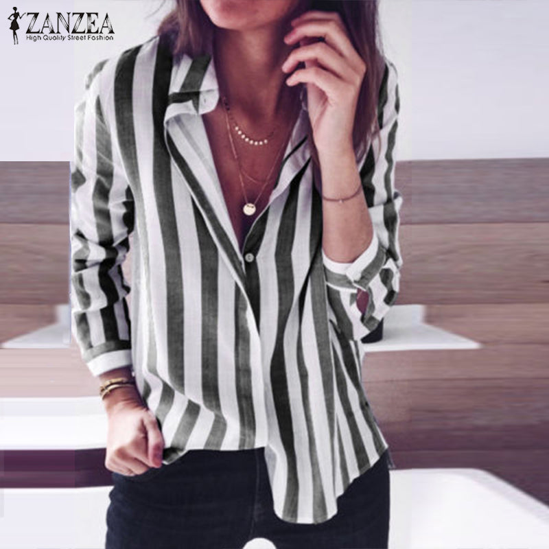 release date: 3e7ac 7df4e Elegant Women Striped Shirt Casual Lapel Neck Long Sleeve Buttons Down Work  OL Blusas Top Plus