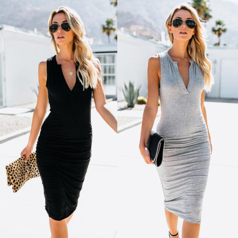 261a97ec32 Sexy V-Neck Solid Color Sleeveless Slim Dress Fashion New Style Office Women  Dress Robe Femme Ete 2018 Summer Dresses