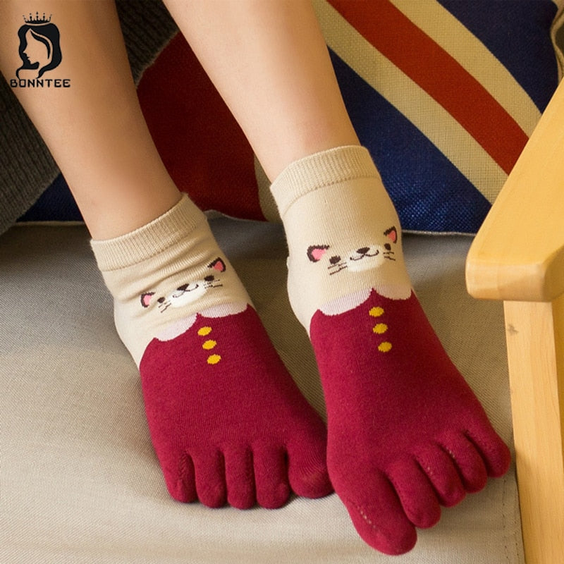 New Cotton Toe Socks Women Five Finger Sock Cartoon Cute Womens Sweat Deodorant Female Breathable Females Soft Students Colorful