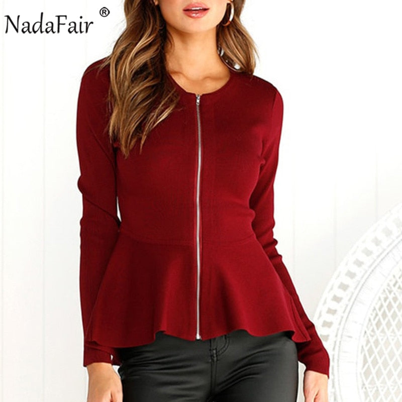 Nadafair new arrival casual jacket coats women asymmetric zipper slim solid short outwear female autumn winter long sleeve tops