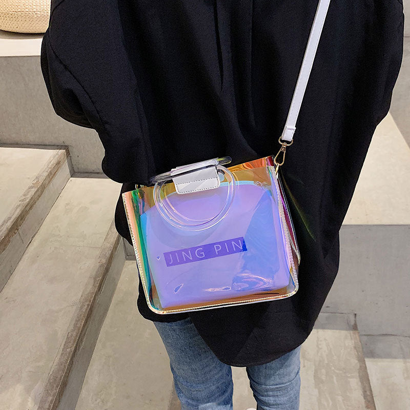 Clear Laser Shoulder Messenger Bags for Women Transparent Handbags Lady Girls Designer PVC Jelly Crossbody Bags Bolsa Feminina