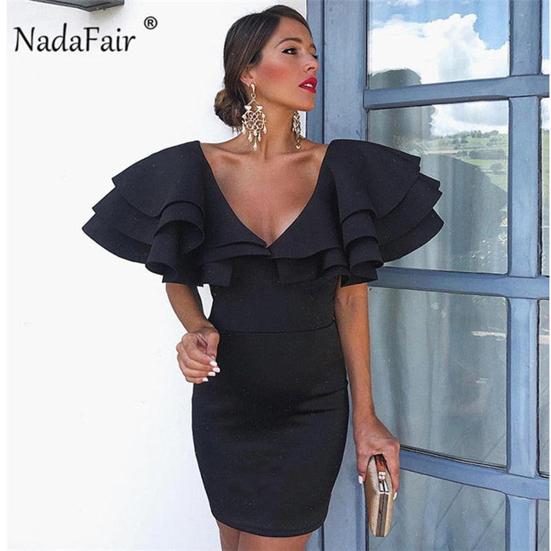 514c3e902f07 black ruffles women party dress 2019 deep v neck bodycon sexy summer dress  female mini slim