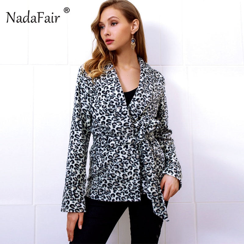 Nadafair belt slim leopard print faux fur coat women winter thick warm soft plush vintage leopard fur jacket female overcoat