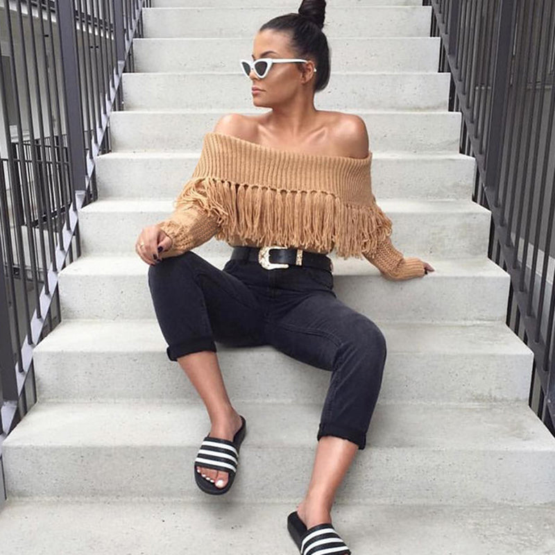 ZHYMIHRET 2018 Autumn Winter Tassel Off Shoulder Sweater For Women Loose Slash Neck Casual Knitted Pullovers Female Sweater