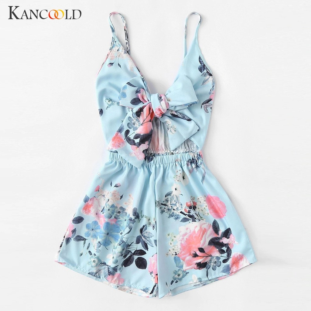 KANCOOLD Jumpsuit Women's V-Neck Casual Sleeveless Playsuits Tie Front Floral Print Cami Romper fashion jumpsuit sexy 2019JAN4