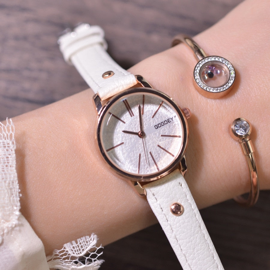 Simple style design women dress watches luxury fashion ladies bracelet wristwatches leather female quartz clock reloj mujer