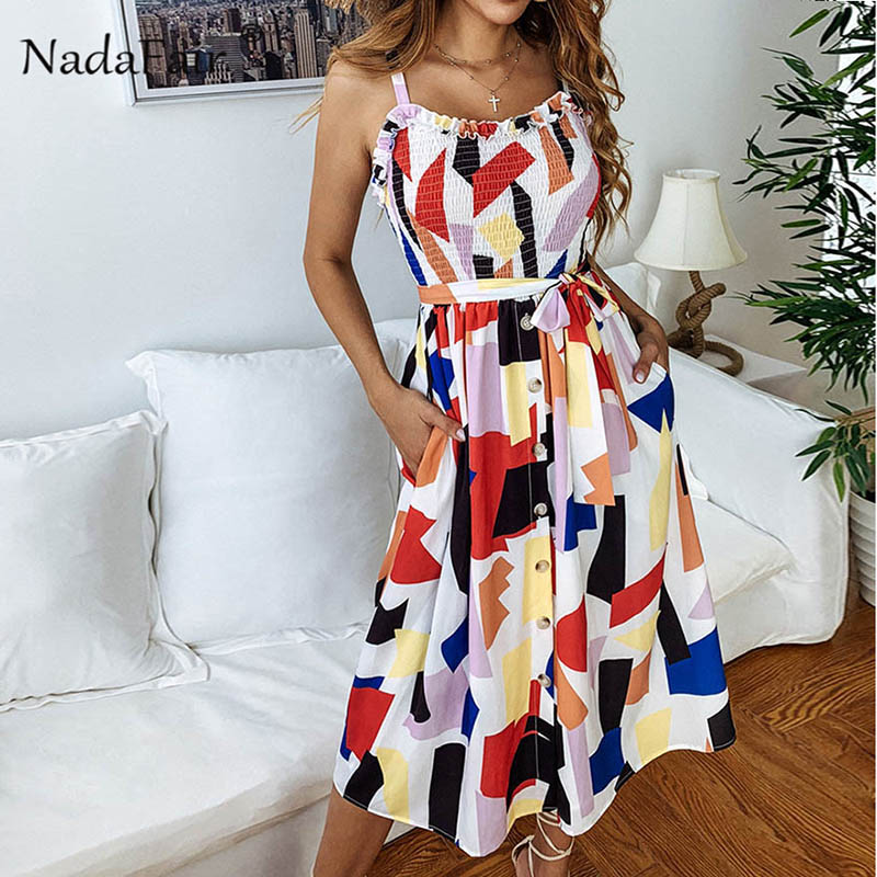 9ac5d4950e83 summer dress women ruffles pleated midi colorful plaid print dress  sleeveless sash elegant long dress office
