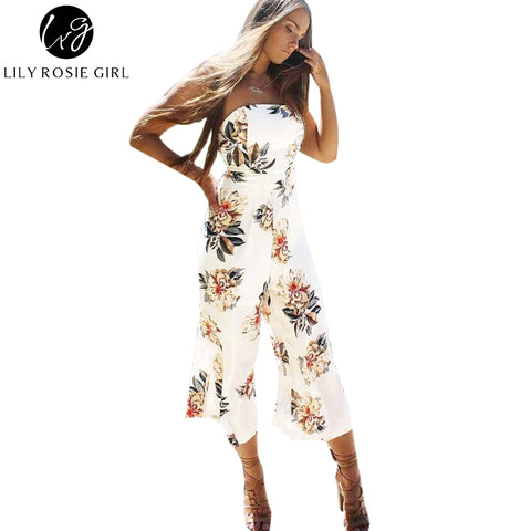 54efb35312b Lily Rosie Girl Women 2017 White Hollow Out Floral Casual Boho Sunmmer  Romper Off Shoulder Sexy Elegant Beach Jumpsuits Overalls