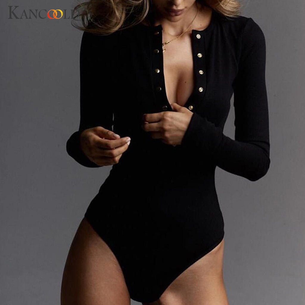 KANCOOLD Jumpsuit Women Fashion Long Sleeved O-Neck Slim Bodysuits Sexy Solid Color Button party new jumpsuit sexy 2019JAN4