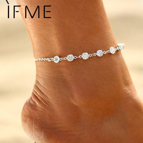 IF ME Fashion Silver Color Crystal Anklets for Women Beach Jewelry Bridal Barefoot  Sandals Anklets Bracelets for Wedding Gift c0688b2170ad