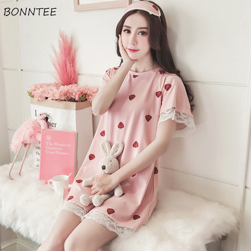 Nightgowns Summer Lace Sleepwear Women Loose Kawaii Trendy Nightdress Womens Leisure Breathable Nightwear Sweet Students Printed