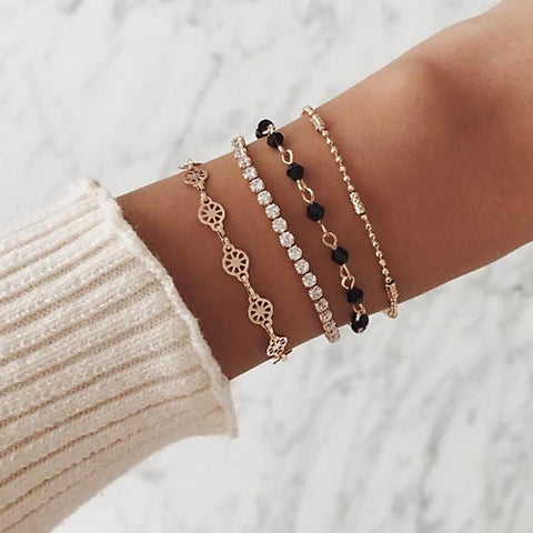Tocona Bohemian Gold Color Black Bead Geometric Layered Bracelets Set for Women Girl Charms Pendant Bracelet Bangle Anklet 6889