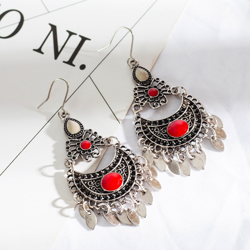 Ethnic acrylic water drop eardrop earrings for women Bohemian butterfly shaped pendant dangle indian earring Metal tassel earing