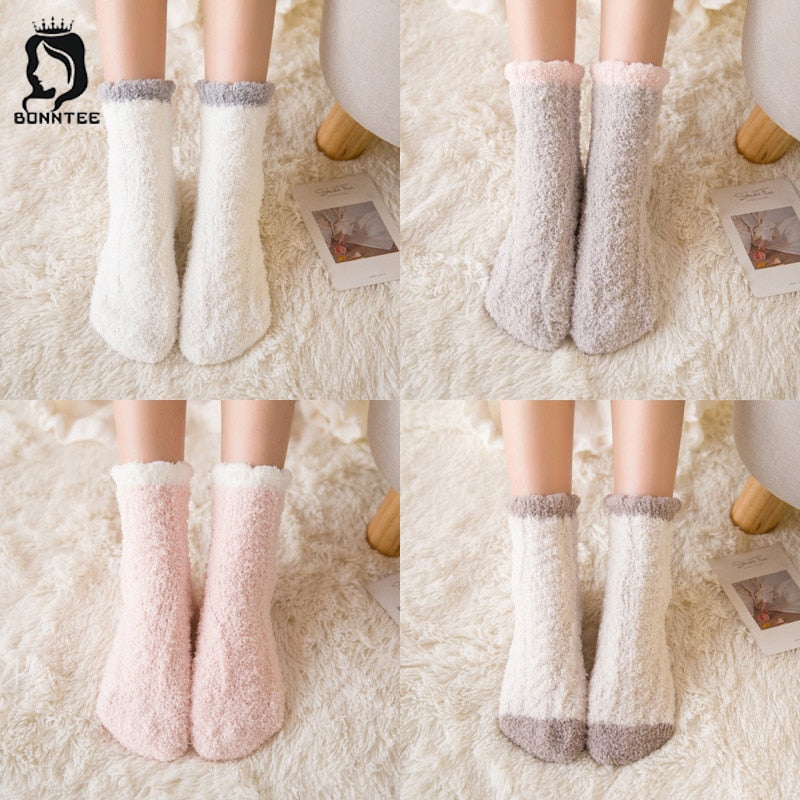 Coral Velvet Women Winter Socks Female Thicker Warm High Elasticity Womens Patchwork Home Floor Terry Sock Females Cute Kawaii