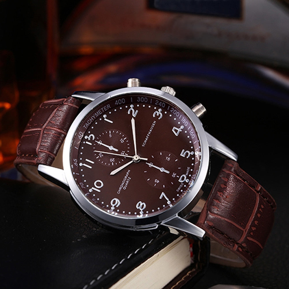 New Watches Men Luxury Brand Chronograph Men Sport Watches High Quality Leather Strap Quartz Wristwatch Relogio Masculin &Ff