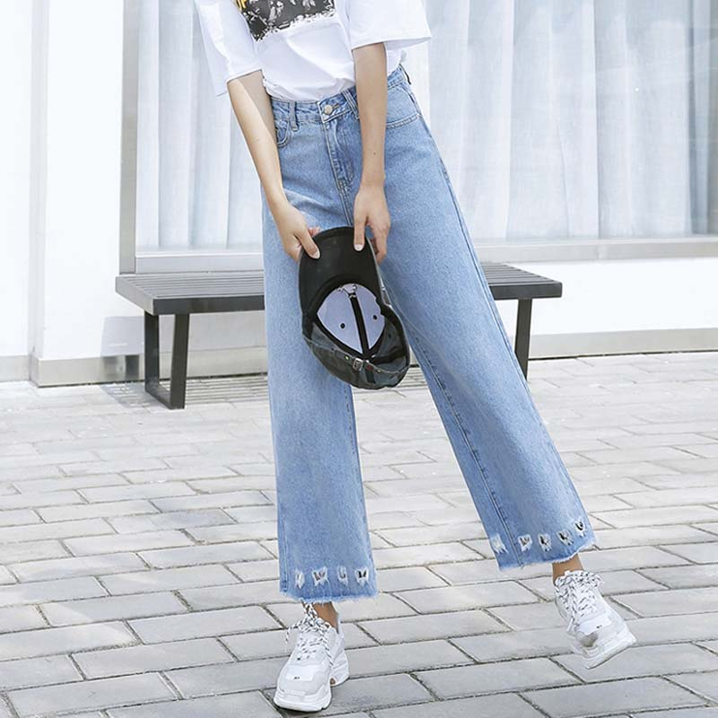 41a1e32c8c Denim Jeans For Women High Waist Wide Leg Jeans Ripped Hole Loose Jeans  Casual Ankle Length
