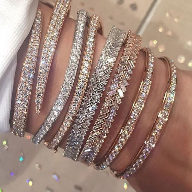 2019 Top fashion rose color snake fashion micro paved clear cz Bracelets with open cuff adjust size women luxury charm Jewelry