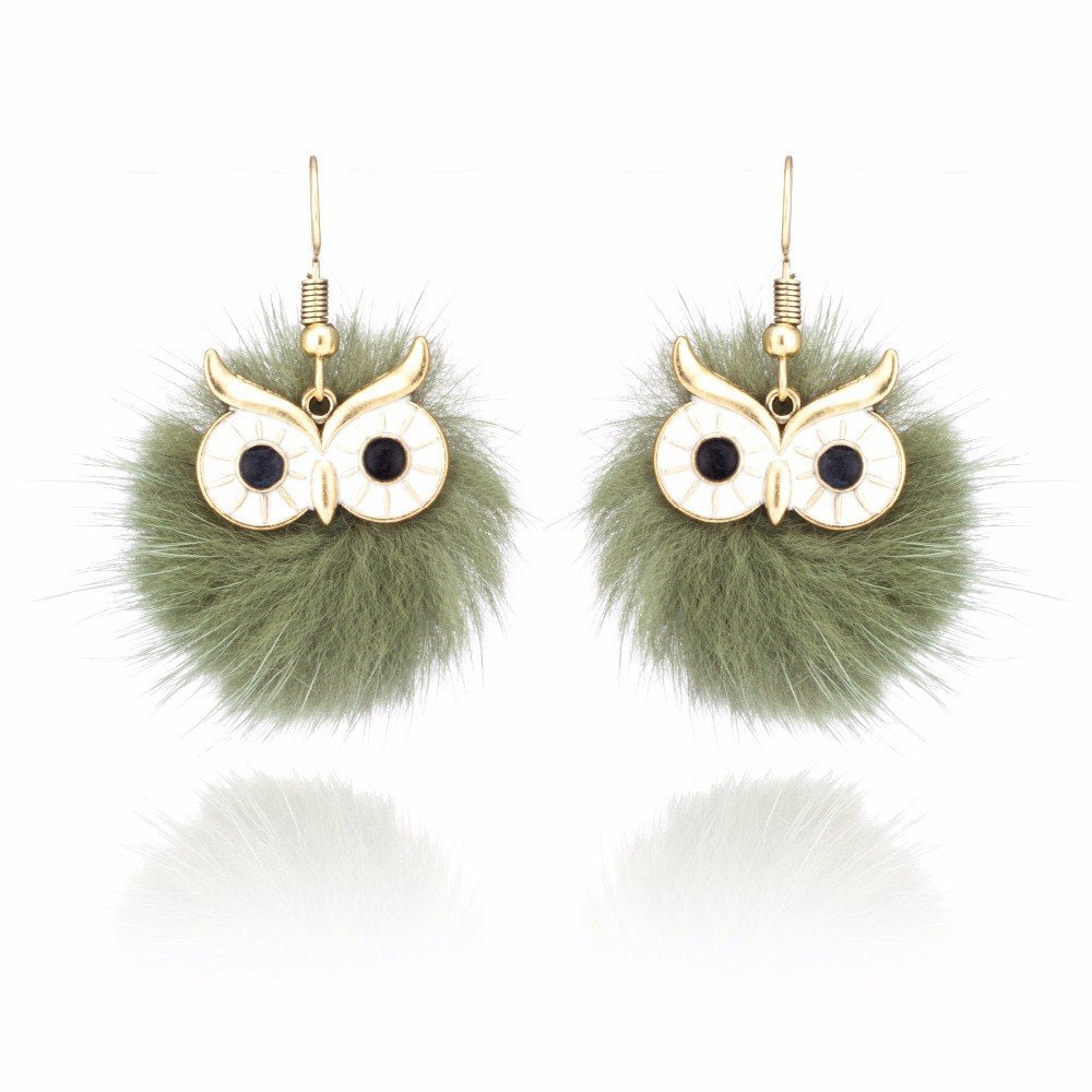 8 Color Fashion Fur Pompom Earring Cute owl shape pom pom earrings for women Party Fashion Charm Jewelry gift 2019 new