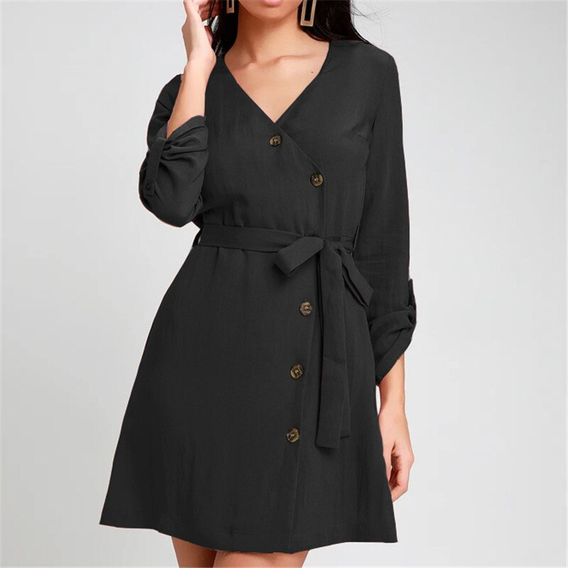 b4e0910bfb432 2019 Spring Summer Dress Women Casual V-Neck Office Ladies Dresses A-Line  Long Sleeve Mini Bandage Party Dress Vestidos Mujer