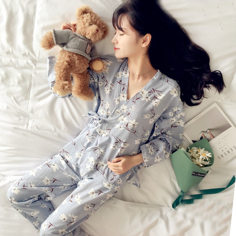 New Fashion Women Print Sweet Womens Long Sleeve Kimono Pajamas Sets Warm Ladies Sleepwear V-neck Japanese Style Home Clothing