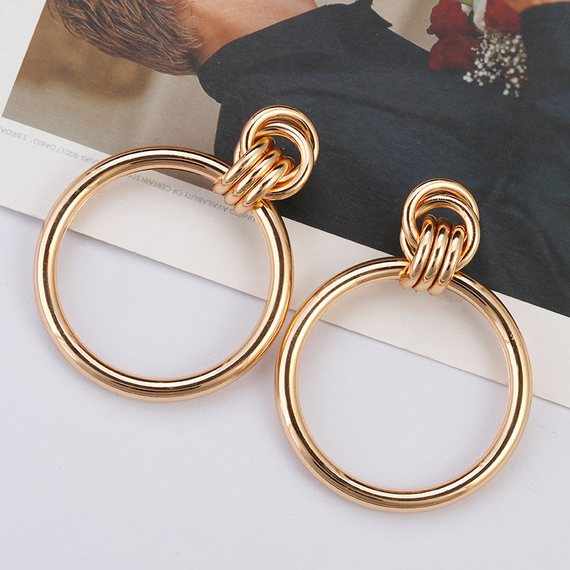 a8a41fcb3 AENSOA Simple Trendy Gold Color Big Round Earring Fashion Hollow Out Punk  Metal Drop Earrings For