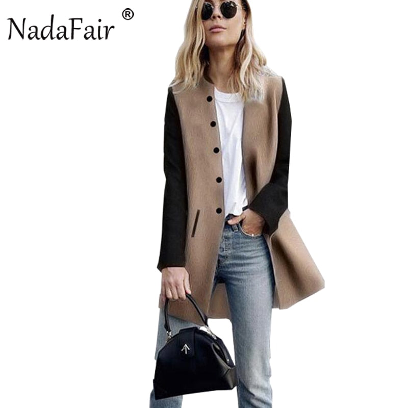 Nadafair Long Sleeve Patchwork Slim Women Casual Autumn Trench Coats